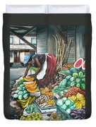 Caribbean Market Day Duvet Cover by Karin  Dawn Kelshall- Best