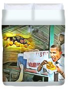 Caribbean Scenes - Obama Eats Doubles In Trinidad Duvet Cover