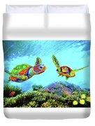Caribbean Sea Turtle And Reef Fish Duvet Cover