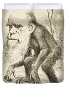 Caricature Of Charles Darwin Duvet Cover
