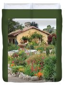 Carmel Mission Courtyard Garden Duvet Cover