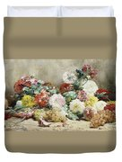 Carnations, Roses, Grapes And Peaches Duvet Cover