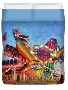 Carnival - A Most Colorful Ride Duvet Cover by Mike Savad