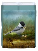 Carolina Chickadee Feeding Duvet Cover