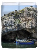 Caroline Cave And Maltese Traditional Boat Duvet Cover
