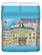 Carousel Paris Illustration Hand Drawn Duvet Cover