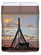Cars On The Move- Lenny Zakim Bridge Sunset Duvet Cover
