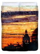 Cartagena Colombia Night Skyline Duvet Cover