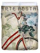 Carte Postale Vintage Bicycle Duvet Cover