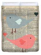 Cartoon Birds In Love  Duvet Cover