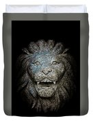 Carved Stone Lion's Head Duvet Cover