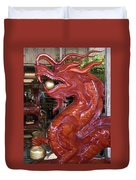 Carved Wood Dragon With Ball In Mouth Duvet Cover