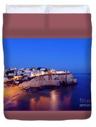 Carvoeiro In The Algarve Portugal At Night Duvet Cover