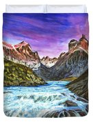 Cascades In Patagonia Painting Duvet Cover