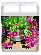Cascading Purple Tulips  Duvet Cover
