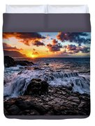Cascading Water At Sunset Duvet Cover