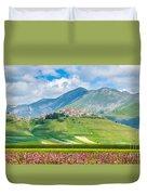 Castelluccio Di Norcia With Beautiful Summer Fields Duvet Cover