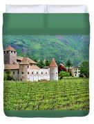 Castle And Vineyard In Italy Duvet Cover