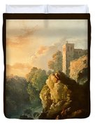 Castle And Waterfall Duvet Cover