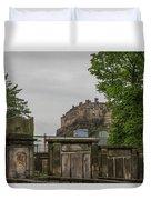 Castle Behind Cemetery Duvet Cover