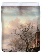 Castle In A Winter Landscape And Skaters On A Fozen River Duvet Cover