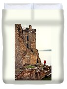 Castle Ruins On The Seashore In Ireland Duvet Cover