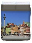 Castle Square And Sigismund's Column Warsaw Poland Duvet Cover