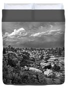 Castlewood Canyon And Storm - Black And White Duvet Cover