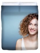 Casual Portrait Of A Cute, Authentic Girl. Duvet Cover