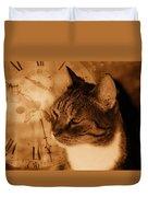 Cat And Clock Duvet Cover