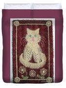Cat And Flowers. Macrame Art Duvet Cover