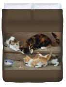 Cat And Kittens Chasing A Mouse   Duvet Cover by Rosa Jameson