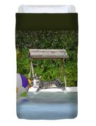 Cat At The Beach Duvet Cover