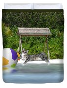 Cat At The Beach Duvet Cover
