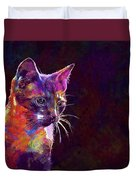Cat Background Image Cute Red  Duvet Cover