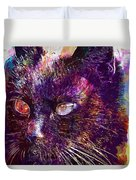 Cat Black View Close  Duvet Cover