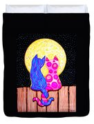 Cat Couple Full Moon Duvet Cover