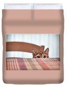 Cat Hiding Under The Table Duvet Cover