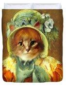 Cat In Bonnet Duvet Cover