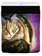 Cat In Purple Background Duvet Cover