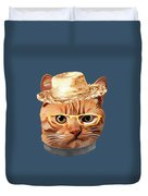 Cat Kitty Kitten In Clothes Yellow Glasses Straw Duvet Cover