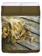 Cat Lie Wood Floor Duvet Cover