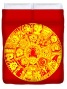 Cat Mandala Yellow And Red Duvet Cover