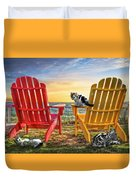 Cat Nap At The Beach Duvet Cover by Debra and Dave Vanderlaan
