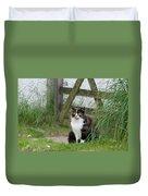 Farm Cat On Duty Duvet Cover