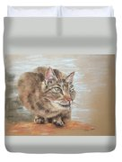 Cat Sitting On Lookout Duvet Cover