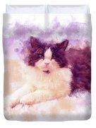 Cat Watercolor Duvet Cover