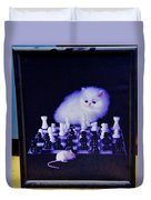 Cat With Chess Board Anbd Mouse Duvet Cover