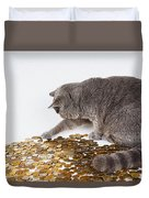 Cat With Coins Duvet Cover