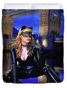 Cat Woman In London Duvet Cover